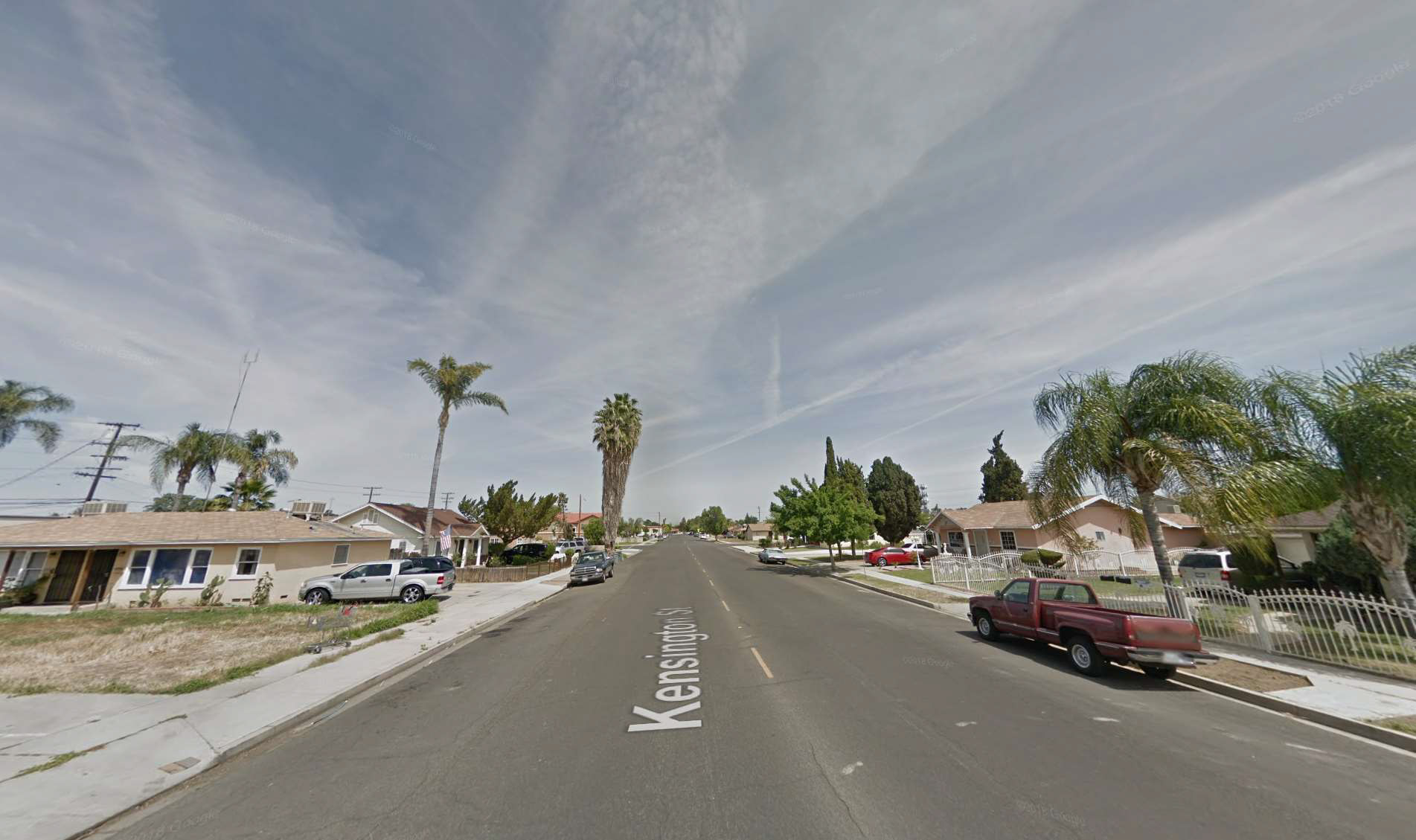 Street view of average neighborhood in Bakersfield