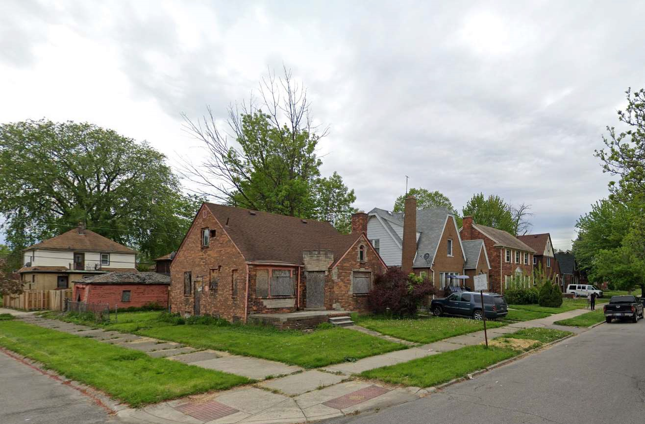 street view of very low opportunity neighborhood in Detroit