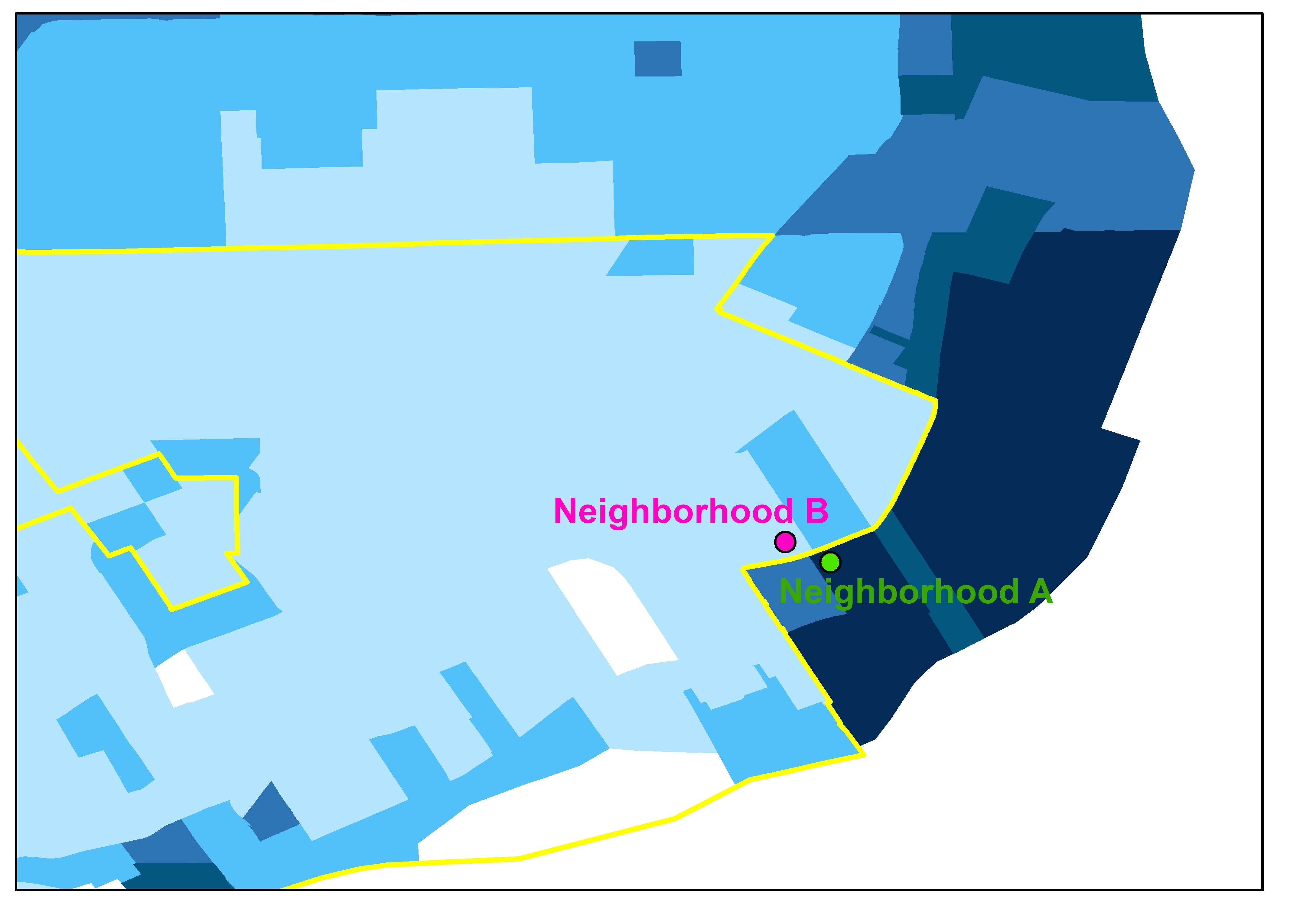 Inset map showing two neighborhoods in Detroit