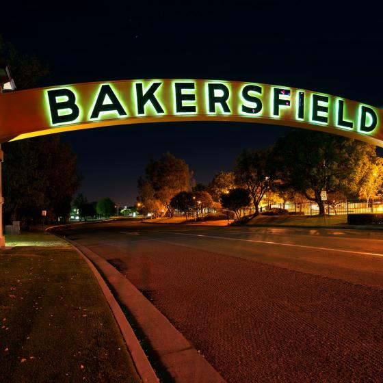 Bakersfield arch at night
