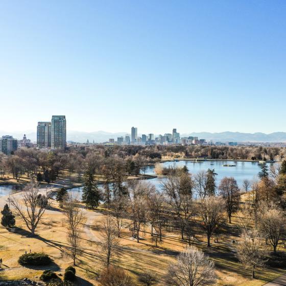 aerial view of Denver park