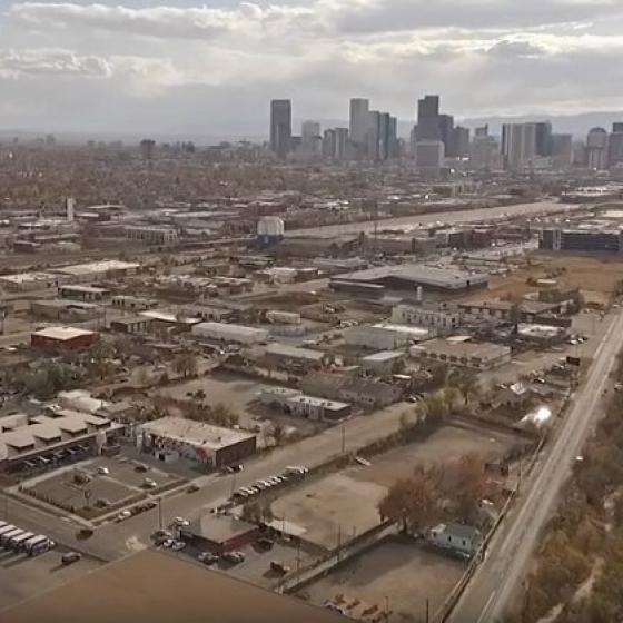 Aerial view of Denver's Globeville neighborhood