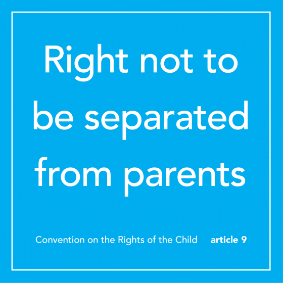 """the words """"right not to be separated from parents"""" on a blue background"""
