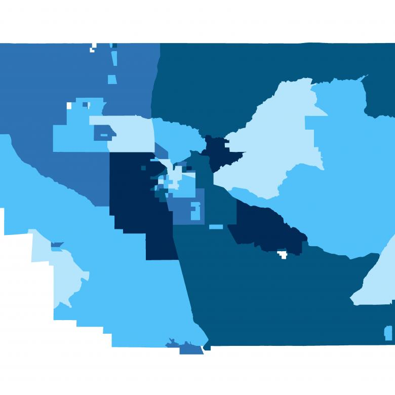 Map showing child opportunity levels in Bakersfield